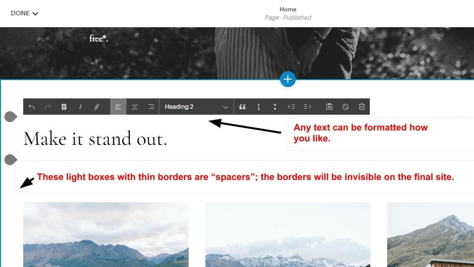 Squarespace text editing UI