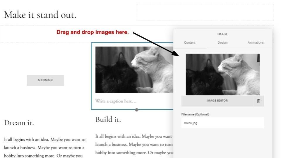 Squarespace image settings popup window