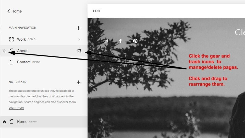 Squarespace page management screen