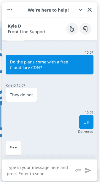 Hostwinds' live chat support