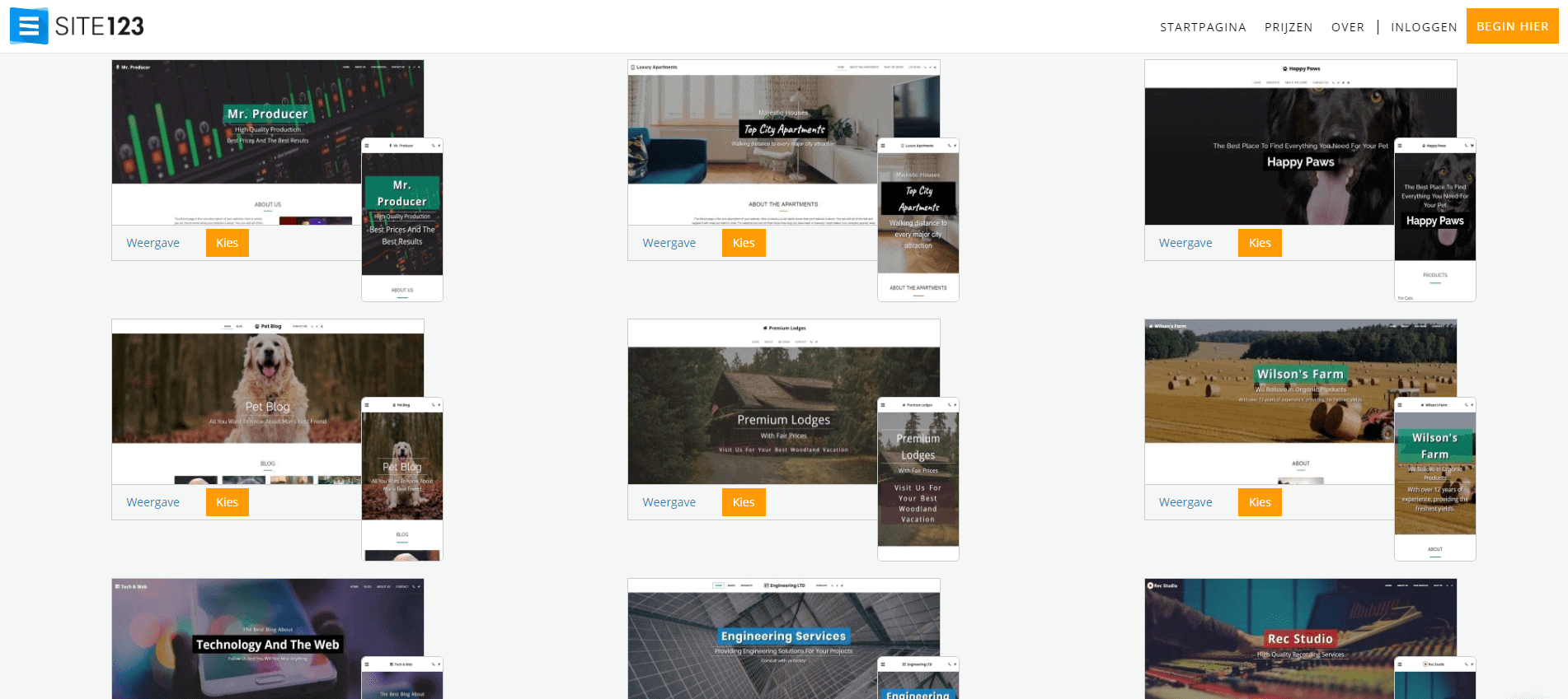 SITE123 template library
