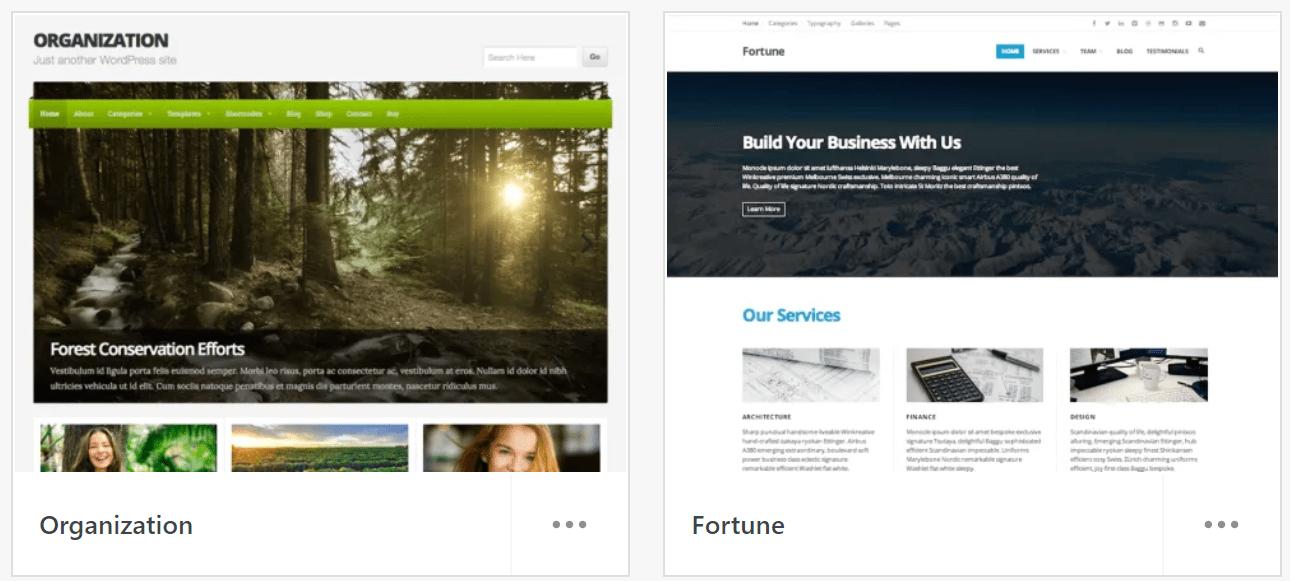 WordPress themes Organization and Fortune