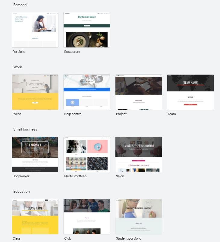 Google Sites template options