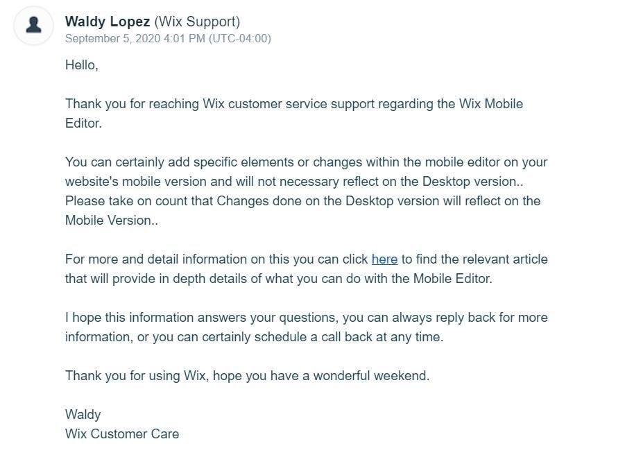Wix customer service