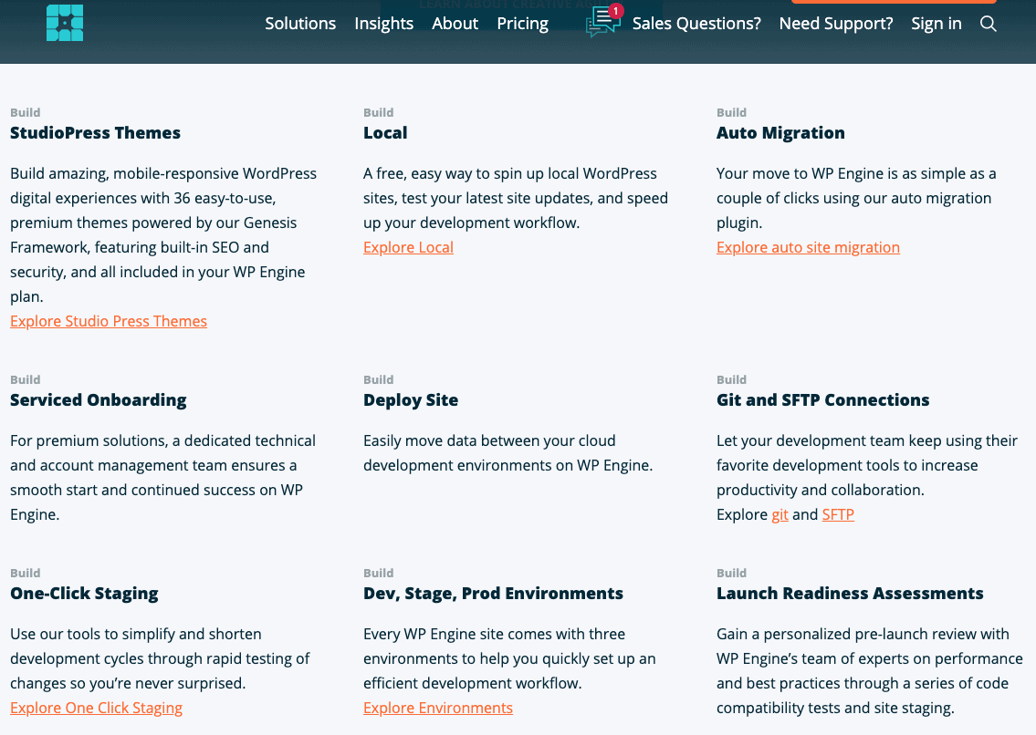 WP Engine's WordPress features