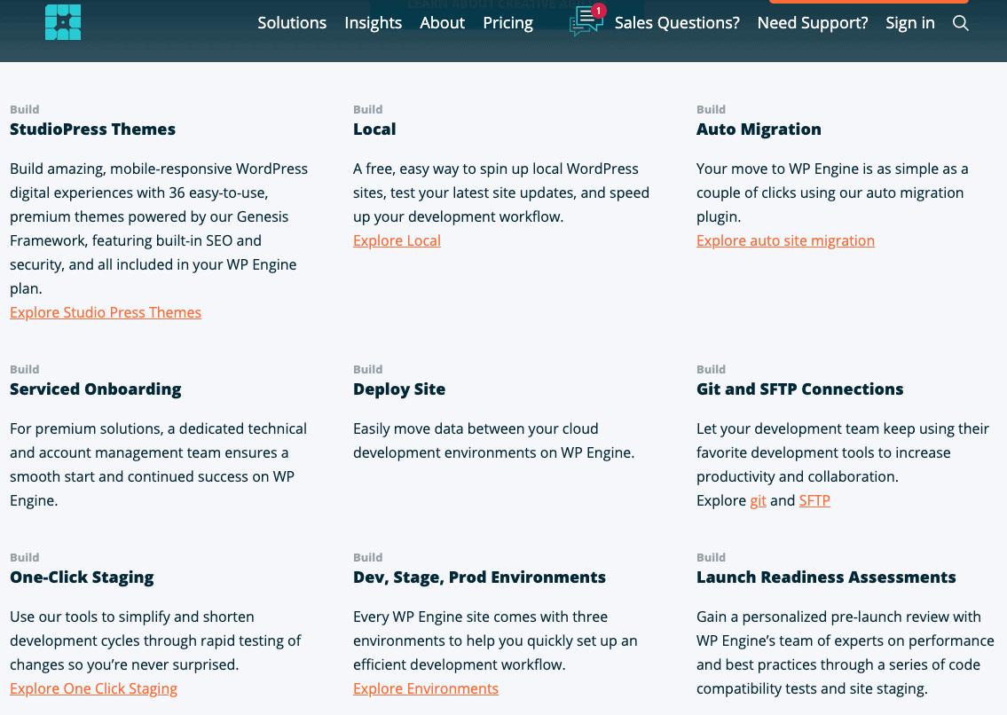 WP Engine's WordPress features