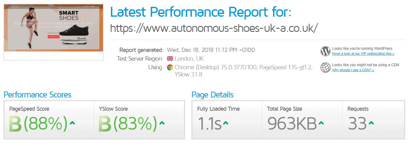 GTMetrix performance test result