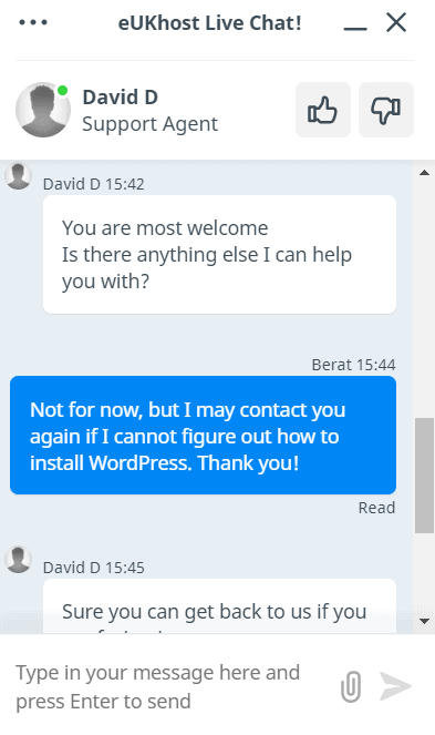 Live chat support with eUKHost