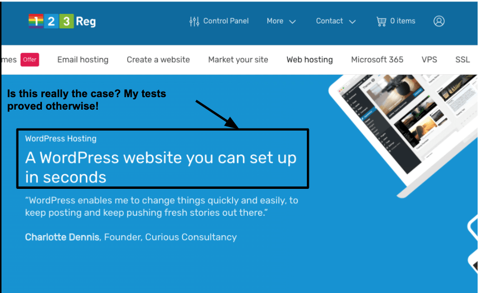 123 Reg offers specific WordPress hosting