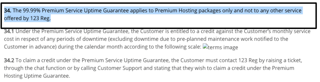123 Reg has no uptime guarantee for WordPress plans