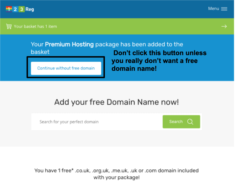 123 Reg offers free domain name with hosting packages