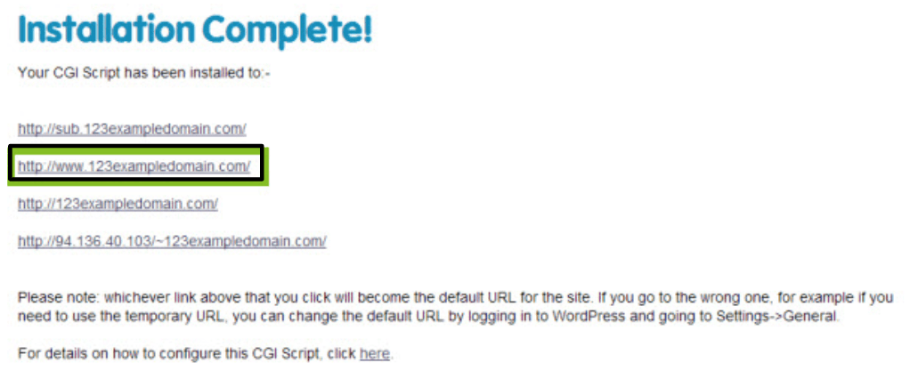 123 Reg's WordPress installation process
