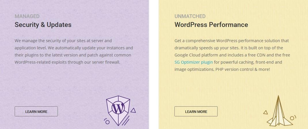 SiteGround - managed WordPress features