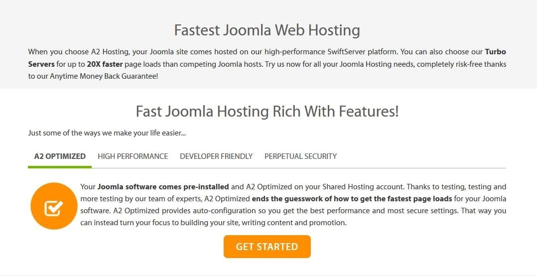 A2 Hosting Joomla features page