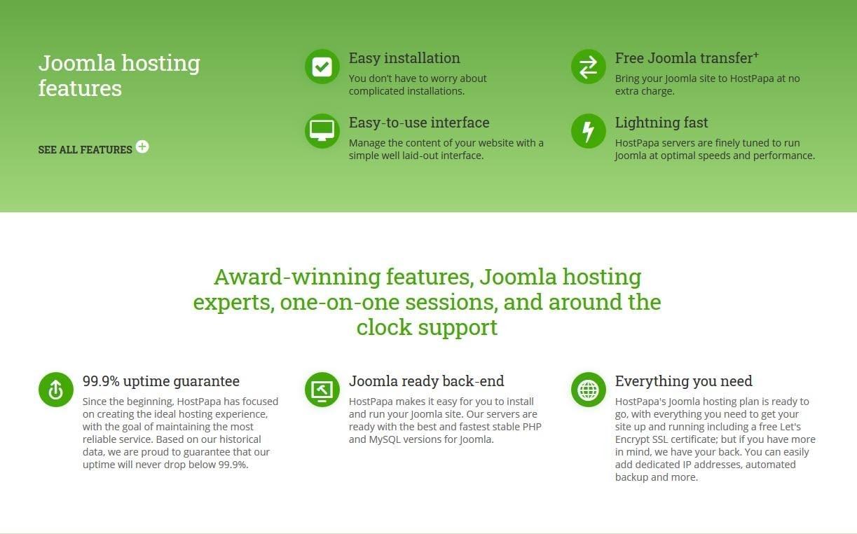 HostPapa's Joomla features