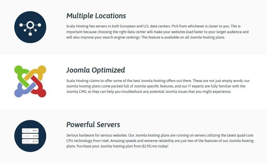 Some of Scala Hosting's Joomla features