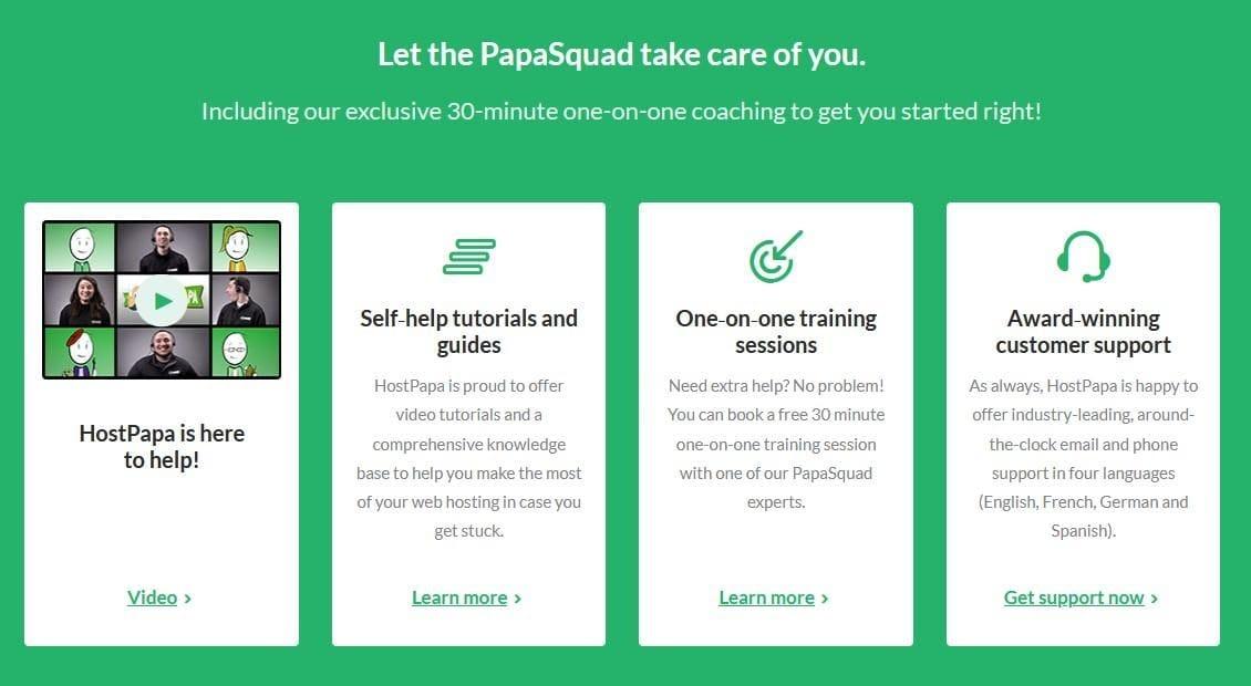 HostPapa - extensive customer support