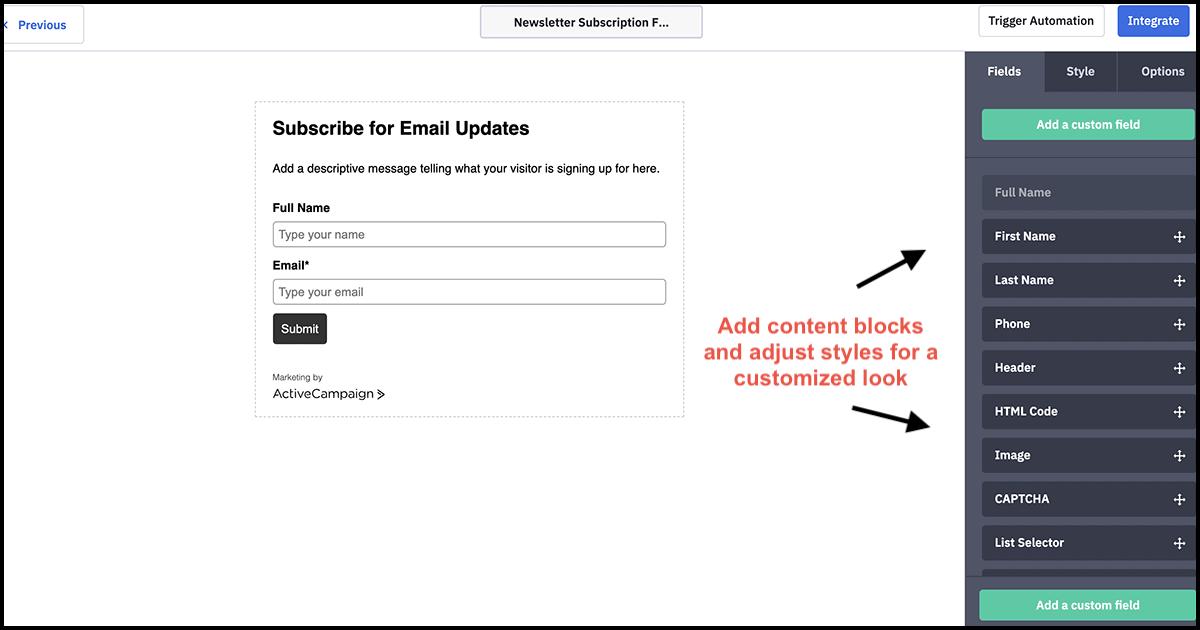 ActiveCampaign form builder