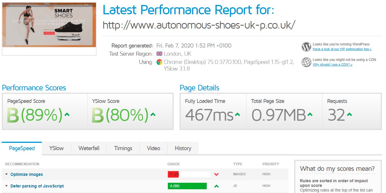 Easyspace speed results GTmetrix