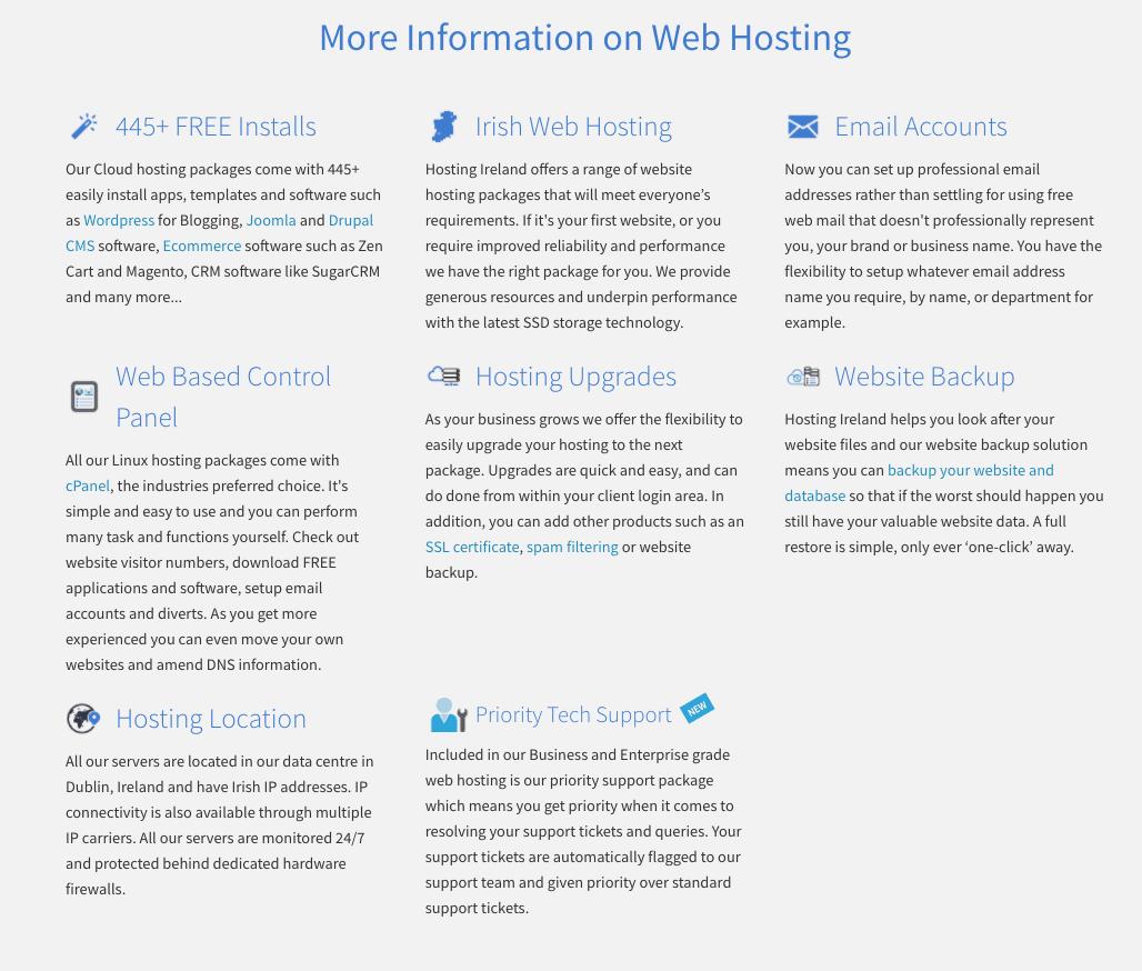 HostingIreland hosting features
