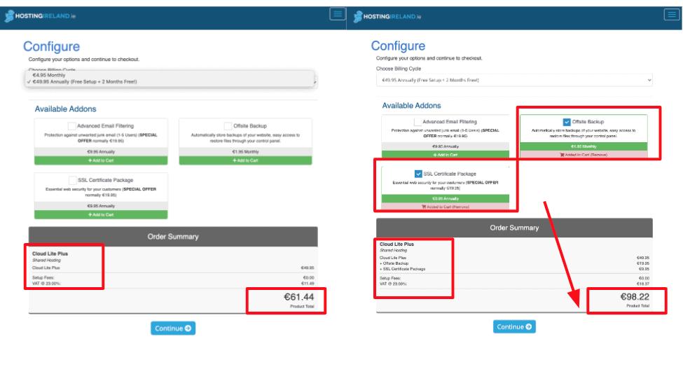 HostingIreland added costs