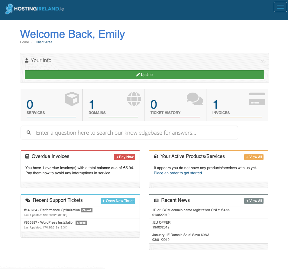 HostingIreland account dashboard