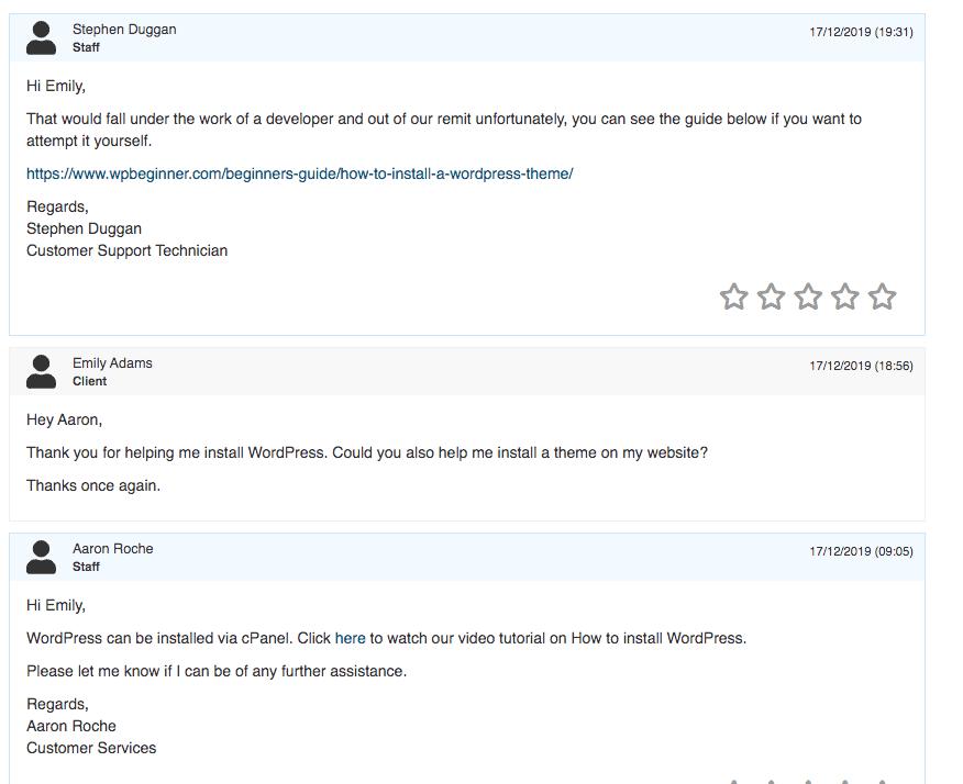 HostingIreland support response