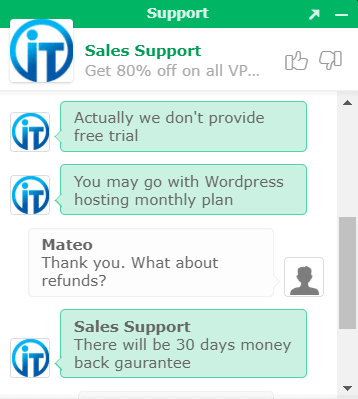 HostItSmart support live chat