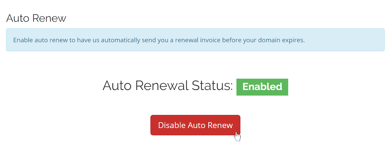 HostItSmart domain renewal screen