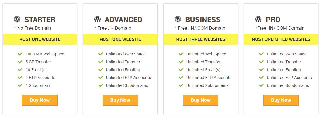 HostSoch WordPress hosting plans