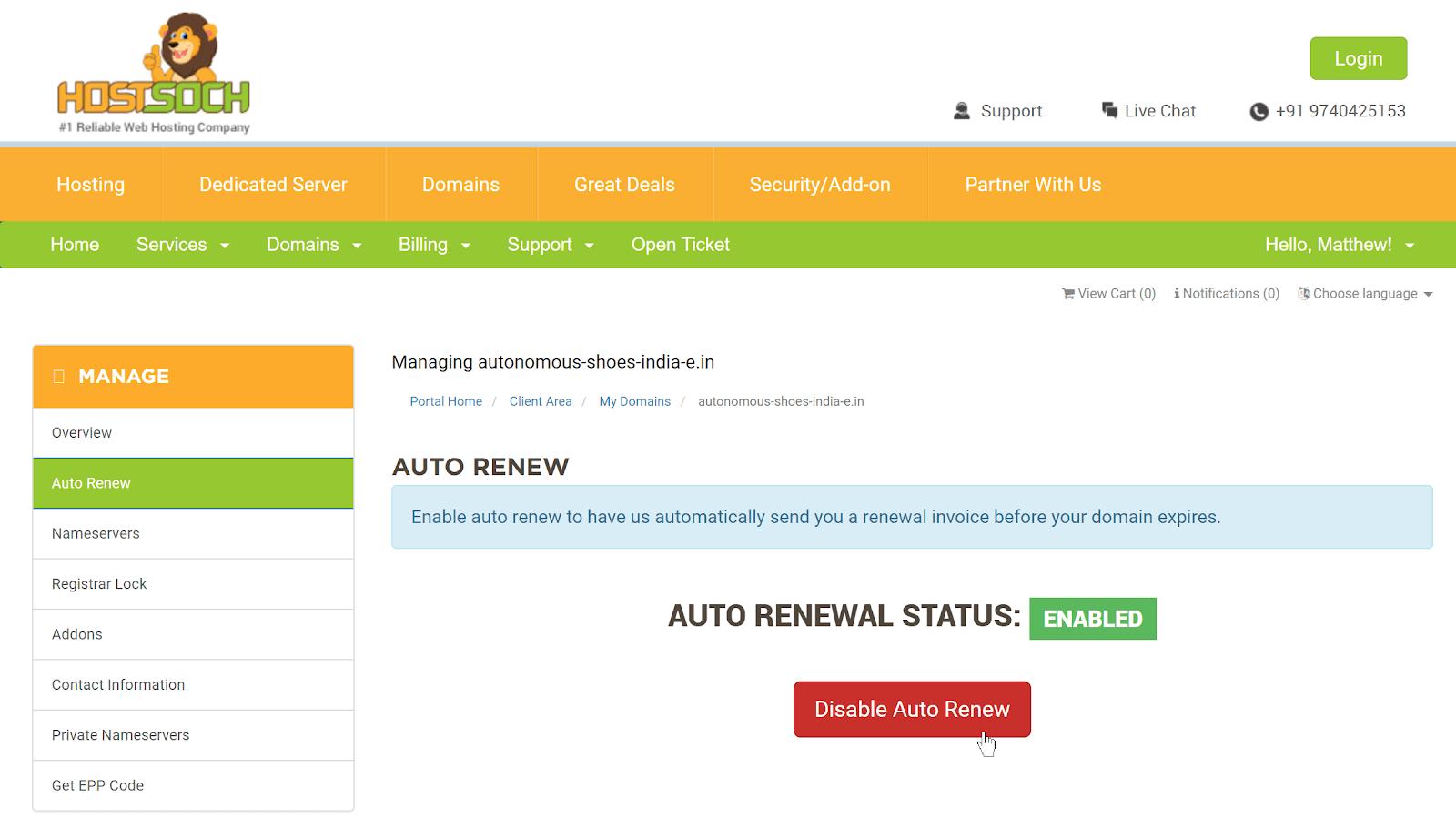 HostSoch domain auto-renew screen