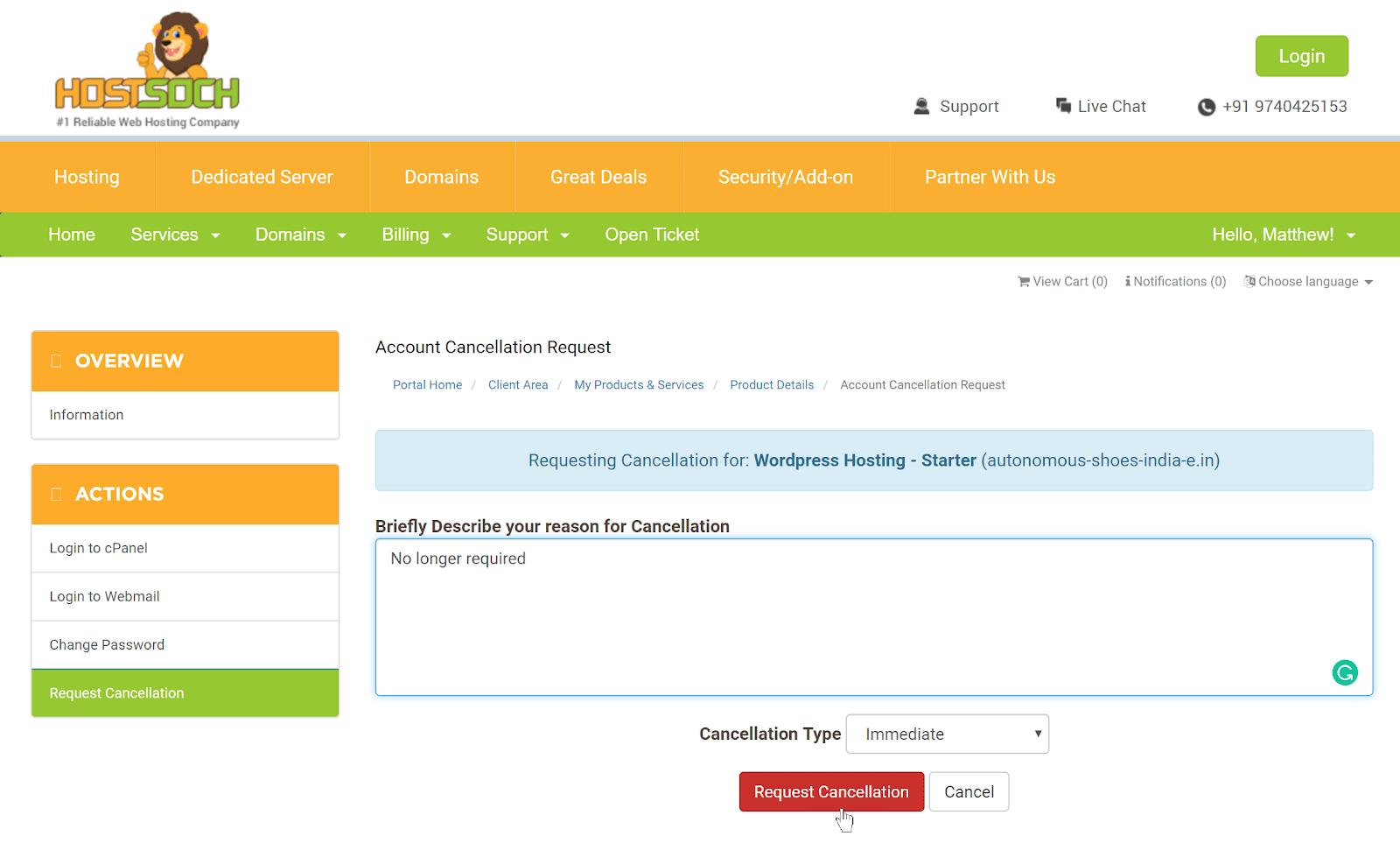 HostSoch hosting cancellation form