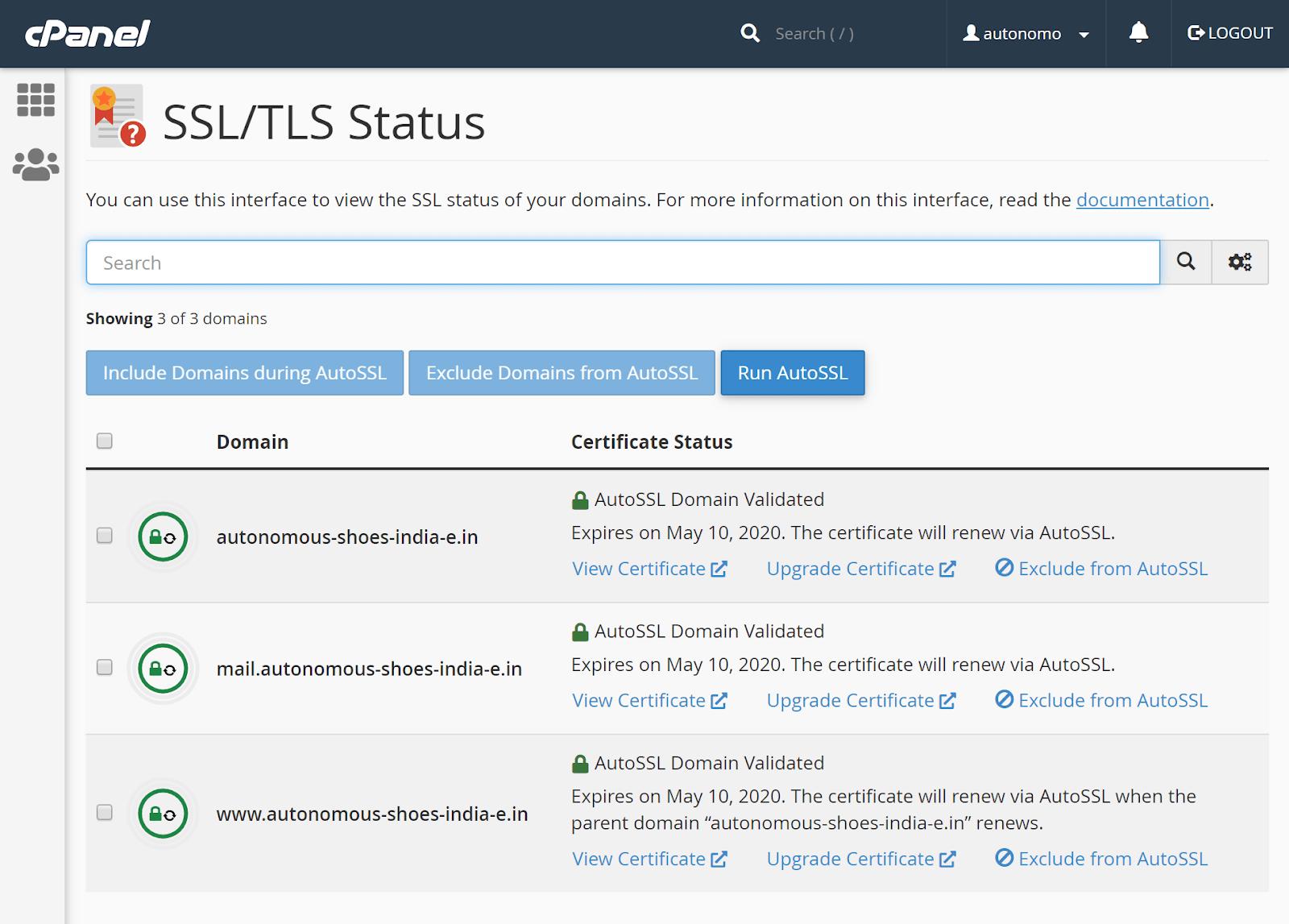 SSL status in cPanel