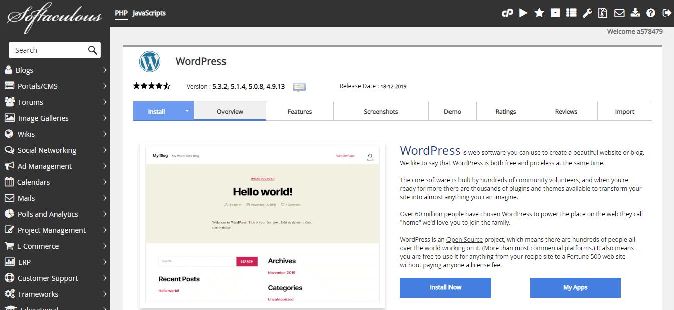 Softaculous WordPress install screen