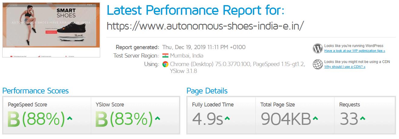 HostSoch GTMetrix test result
