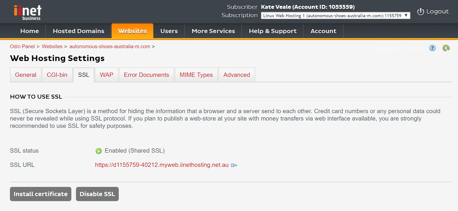 A misleading SSL settings screen