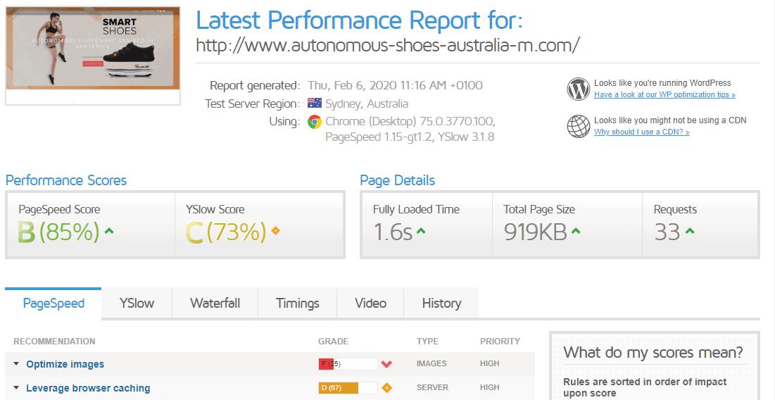 GTmetrix test results