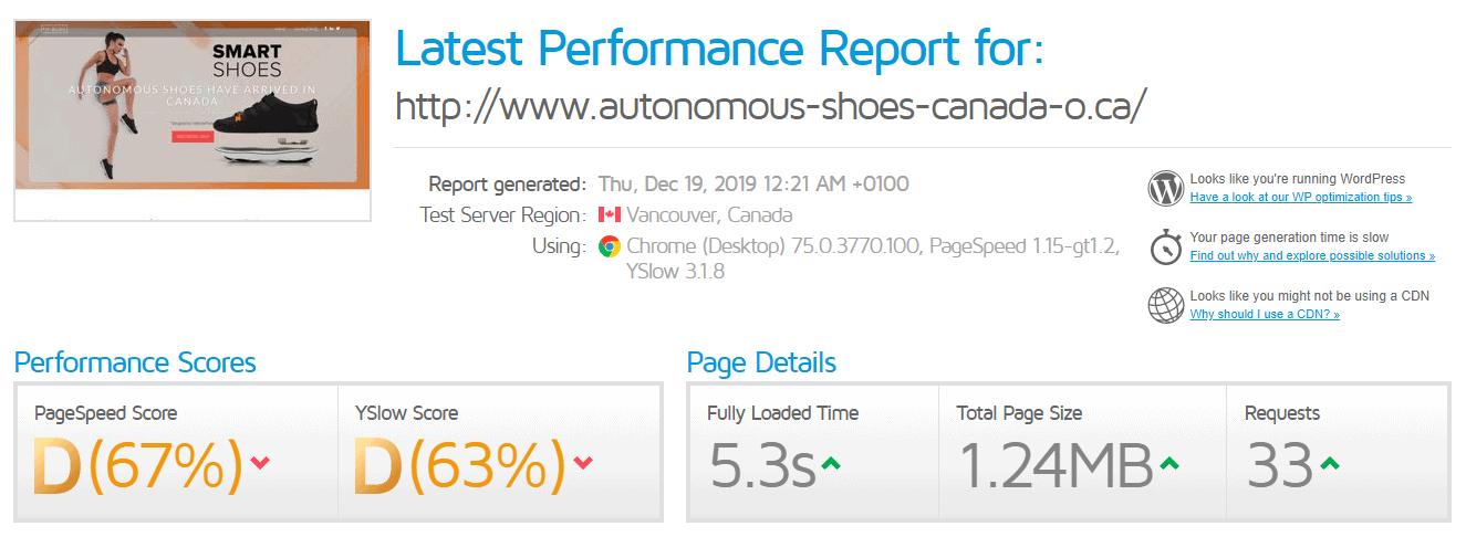 GTmetrix scores SiberName