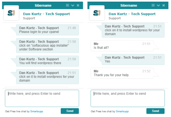 Live chat support SiberName