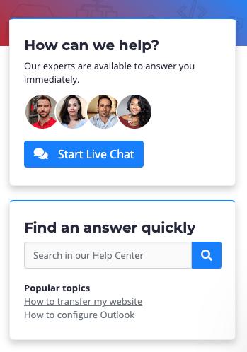 Web Hosting Canada live chat widget