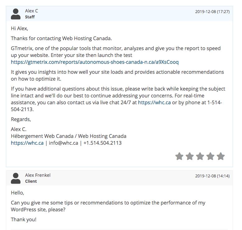 Web Hosting Canada optimization help