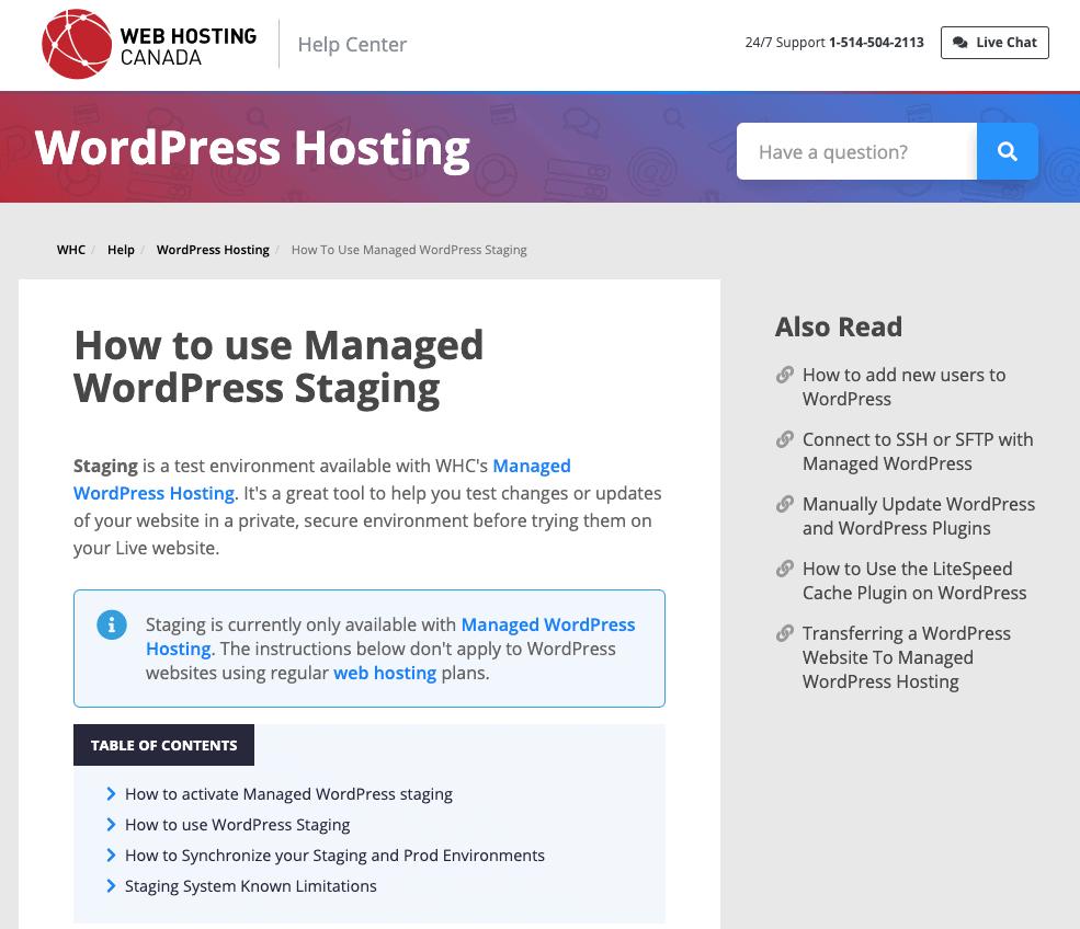 Web Hosting Canada help guides