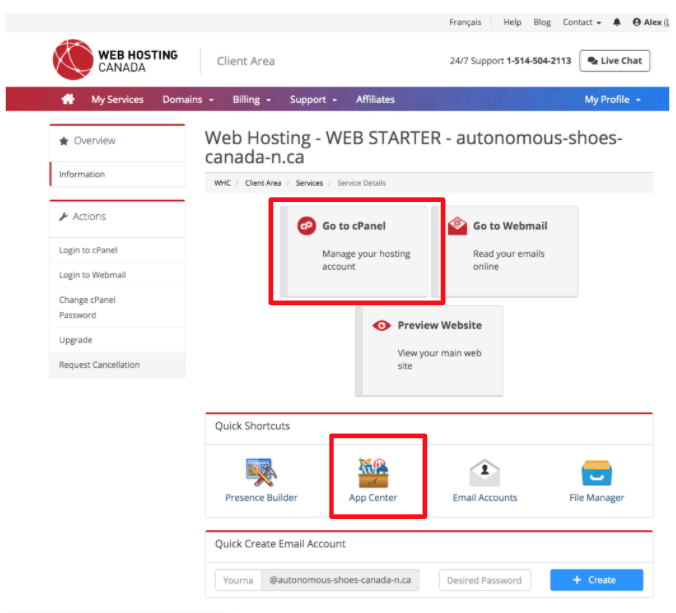 Web Hosting Canada account dashboard