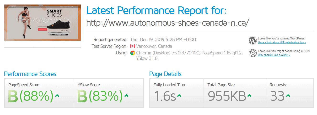 GTmetrix results for Web Hosting Canada
