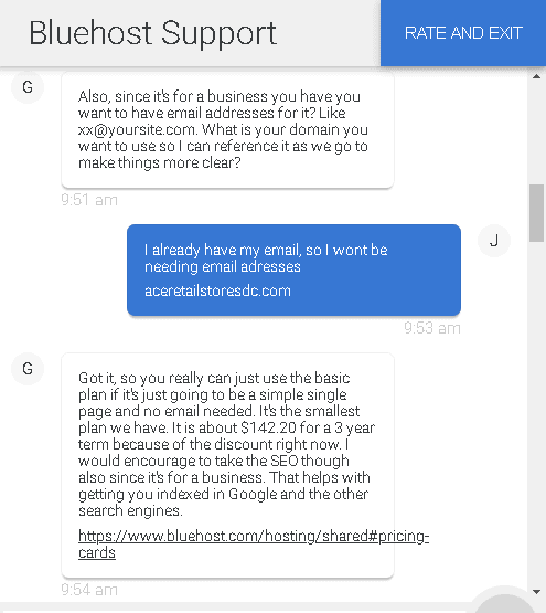 Bluehost customer support chat screen