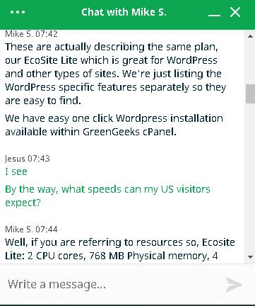GreenGeeks customer support chat screen