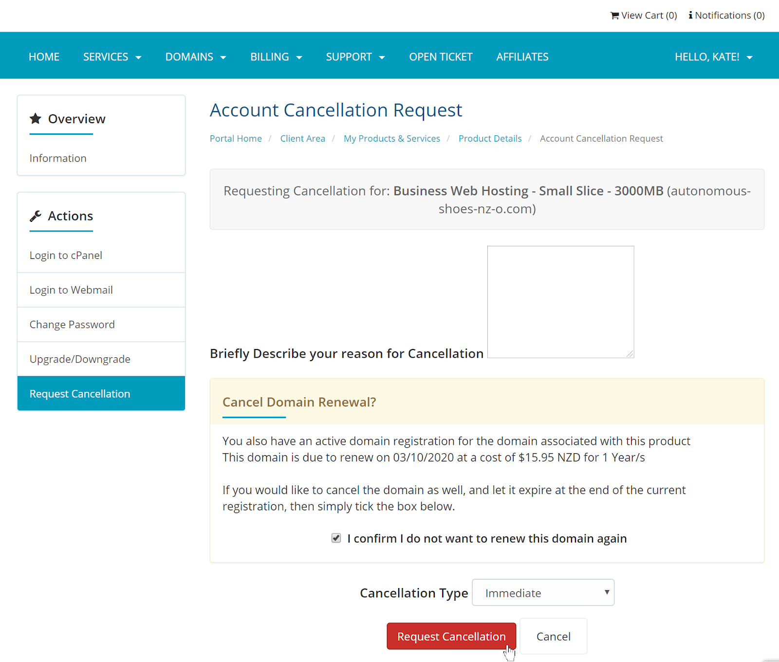 Webslice - Cancellation form