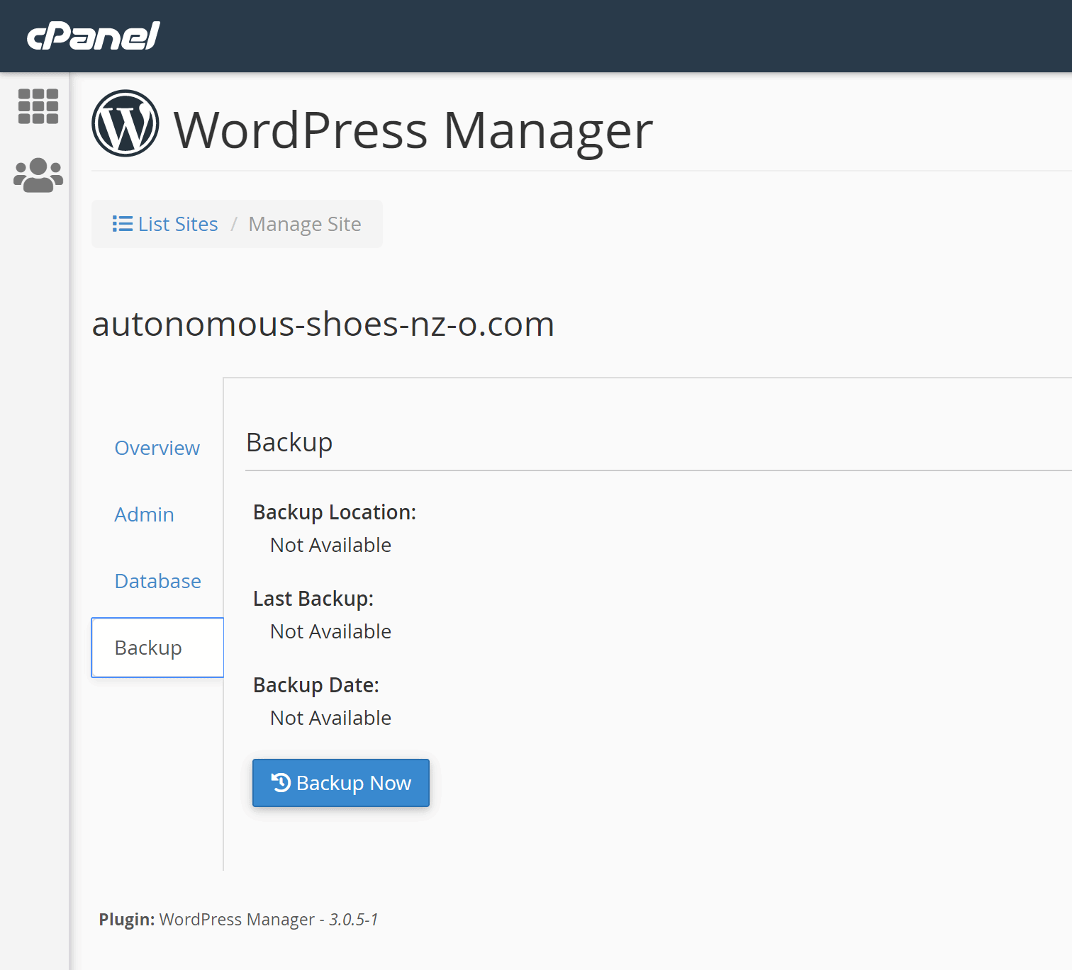 Webslice - WordPress Manager backup screen