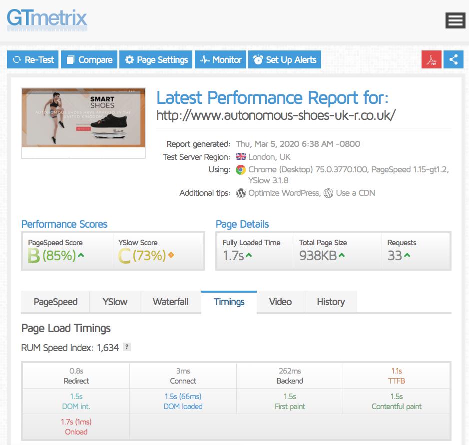 GTmetrix results for Eco Web Hosting