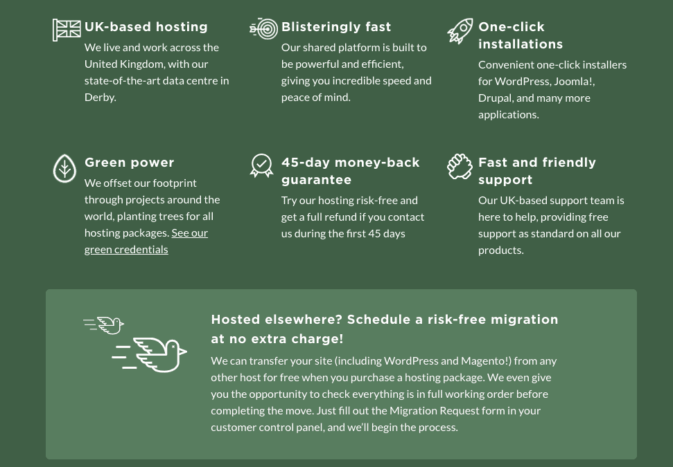 Eco Web Hosting features